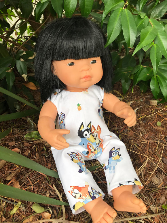 MADE TO ORDER (2 WEEKS MAKE TIME) Overalls -  to suit 38cm Miniland Doll - Bluey - Family Fun