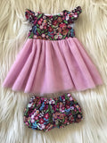 Dress Set to suit 38cm Miniland Doll - Purple Floral - Pink
