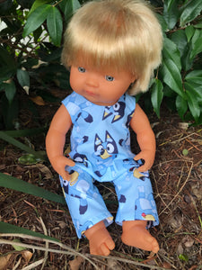 Overalls -  to suit 38cm Miniland Doll - Bluey - All Over
