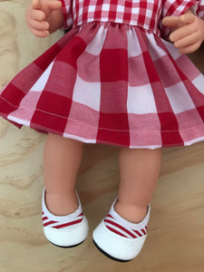 Flats Shoes to suit 38cm Miniland Doll - Red Stripe