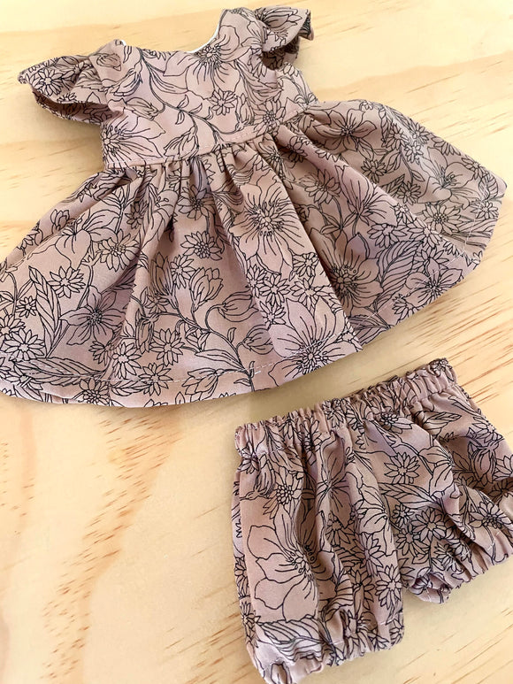 MADE TO ORDER (UP TO 2 WEEK TURN AROUND) Sally Dress Set to suit 38cm Miniland Doll - May Gibbs - Midnight Flannel Flowers