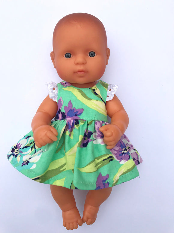 Stephanie Dress Set to suit 32cm Miniland Doll - Teal Big Blooms