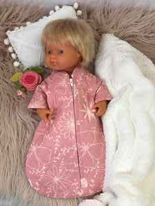 Sleeping Bag on its own, to suit 38cm Miniland Doll - Pink quilted Flowers