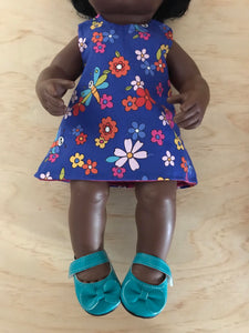Mary Jane Shoes to suit 38cm Miniland Doll - Teal
