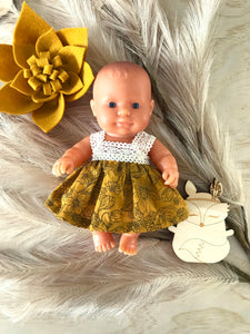 Maisy Dress Set to suit 21cm Miniland Doll - Wild Garden - Mustard