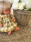 Francine Dress Set to suit 38cm Miniland Doll - Freckly Ollie - Mustard Gingham
