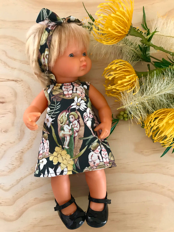 MADE TO ORDER (UP TO 2 WEEK MAKE TIME) Dress Set - PINNY -  to suit 38cm Miniland Doll -May Gibbs - Gossiping Gumnuts - KHAKI