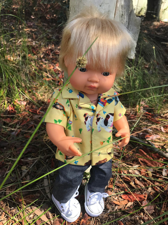 Trousers Set to suit 38cm Miniland doll - Golden Shirt and Jeans