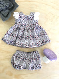 Stephanie Dress Set to suit 32cm Miniland Doll - Grey and Plum Vines