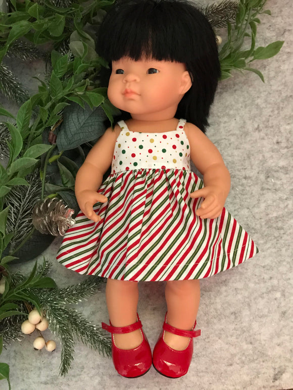 Sally Dress Set to suit 38cm Miniland Doll - Christmas stripes