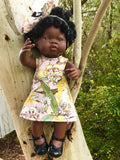 MADE TO ORDER (UP TO 2 WEEK MAKE TIME) Dress Set - PINNY -  to suit 38cm Miniland Doll -May Gibbs - Gossiping Gumnuts - PINK