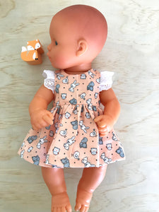 Stephanie Dress Set to suit 32cm Miniland Doll - Baby Forest Animals on Peach