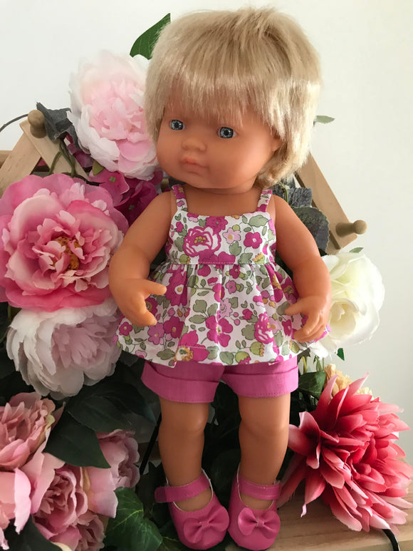 MADE TO ORDER (APPROX UP TO 2 WEEKS) Shorts Set to suit 38cm Miniland Doll - Liberty London - Betsy - fuchsia.