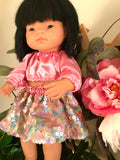 Sally Dress Set to suit 38cm Miniland Doll - Golden Sunset Rose