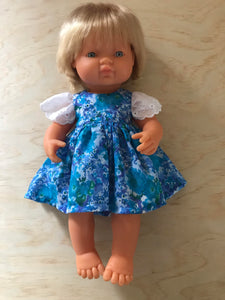 Stephanie Dress Set to suit 38cm Miniland Doll - Coco and Ginger - Blue Water Colour