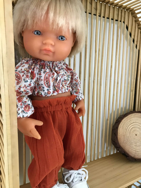 Doll Trousers Set to suit 38cm Miniland Doll - Burnt Orange Paisley