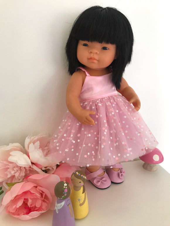 Dress Set to suit 38cm Miniland Doll - Pink Confetti Tulle