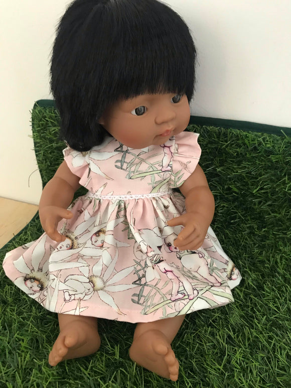 MADE TO ORDER (UP 2 WEEKS) Edith Dress Set to suit 38cm Miniland Doll - May Gibbs - Pink Flannel Flower Babies