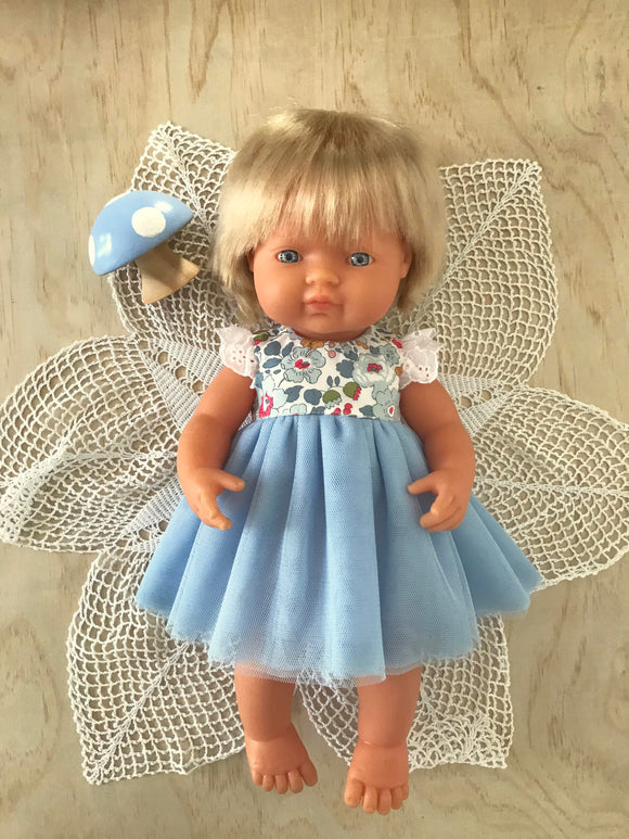 Coco Dress Set to suit 38cm Miniland Doll - Liberty London - Betsy - Blue
