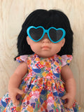 Doll Glasses - Hearts - Turquoise