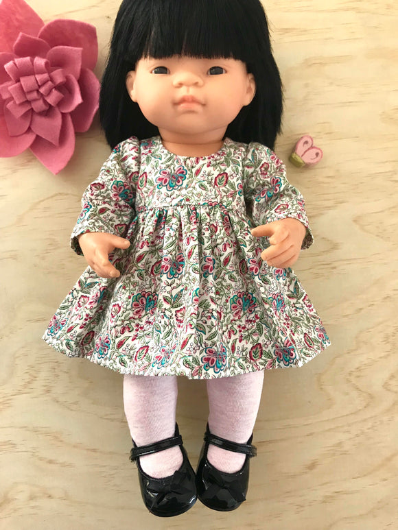 Francine Dress Set to suit 38cm Miniland Doll - Fuchsia Paisley