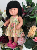 Dress Set to suit 38cm Miniland Doll - Sunset Rose
