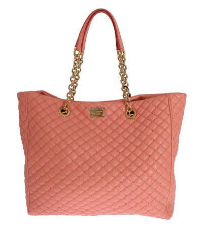 Pink Leather Quilted Shopping Hand Shoulder