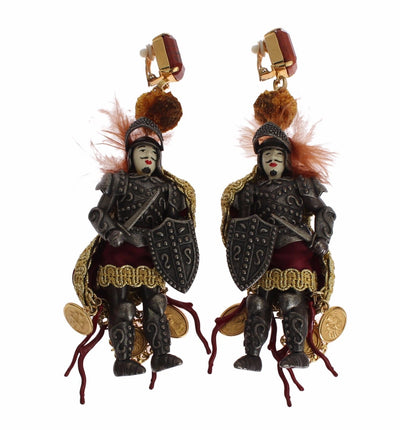 Earrings Clip On Dangling Pupi Doll Sicily Soldiers Runway