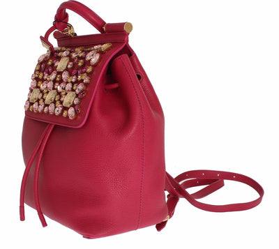 Backpack Pink Leather Crystal Hand Purse SICILY