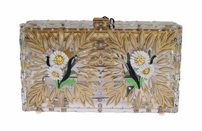 Purse BOX Plexi Flower Hand Painted Da Sera Clutch