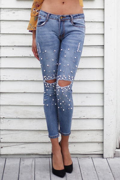 Low Rise Skinny Jeans with Pearl Beads