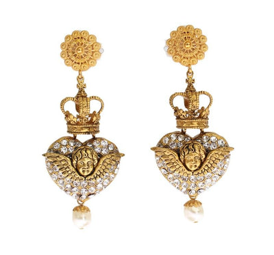 Gold Crystal Heart Crown Dangling Clip On Earring