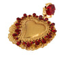 Gold Red Crystal Sacred Heart Clip On Earring