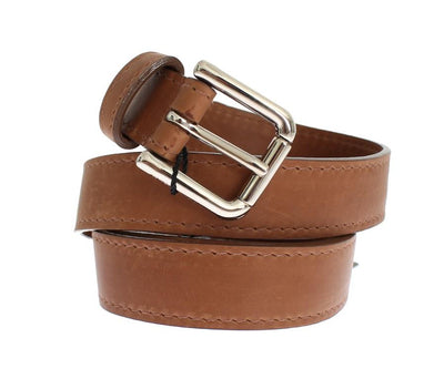 Brown Leather Silver Buckle Logo Wide Belt