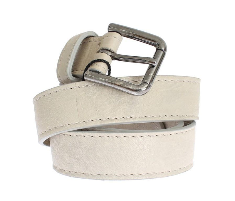 Beige Leather Silver Buckle Logo Belt