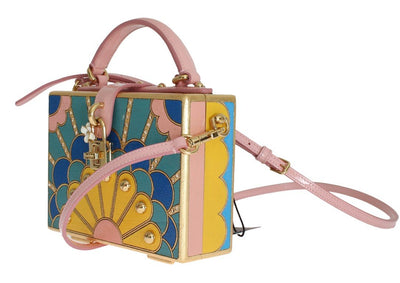 Pink Leather Crystal Sicily Wood BOX Satchel Bag