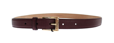 Red Leather Gold Buckle Logo Waist Belt