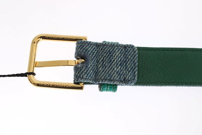 Blue Denim Snakeskin Gold Buckle Logo Belt