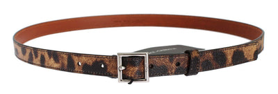 Brown Leopard Print Silver Buckle Belt