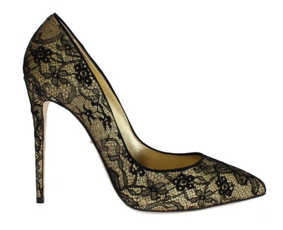 Yellow Black Lace Stiletto Heels Shoes
