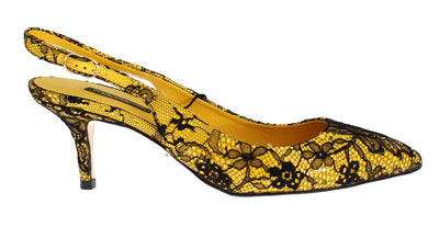 Yellow Leather Black Lace Slingbacks Shoes