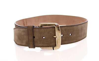 Gray Suede Leather Logo Belt