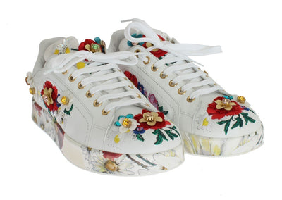 White Leather Floral Crystal Sneakers