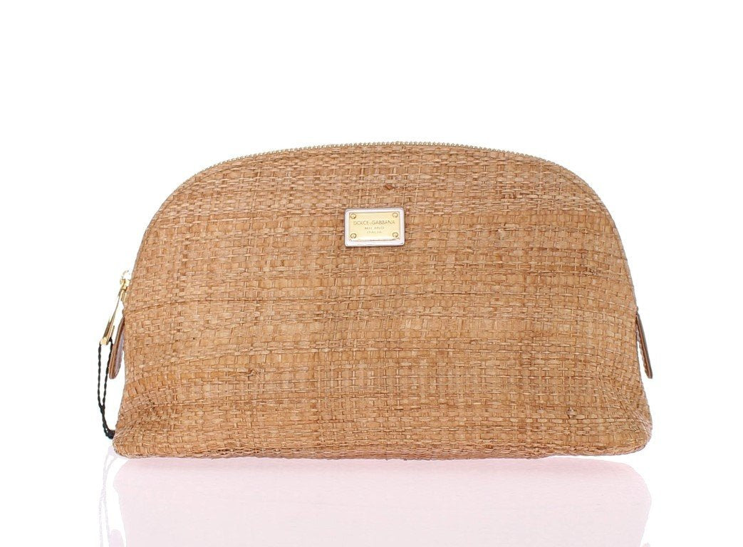Beige woven cosmetic bag