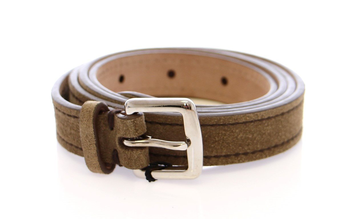 Beige Suede Leather Logo Belt