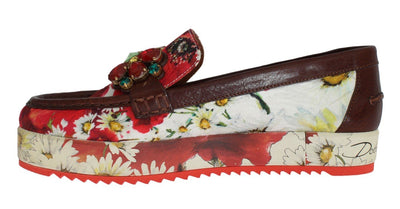 Multicolor Brocade Crystal Loafers