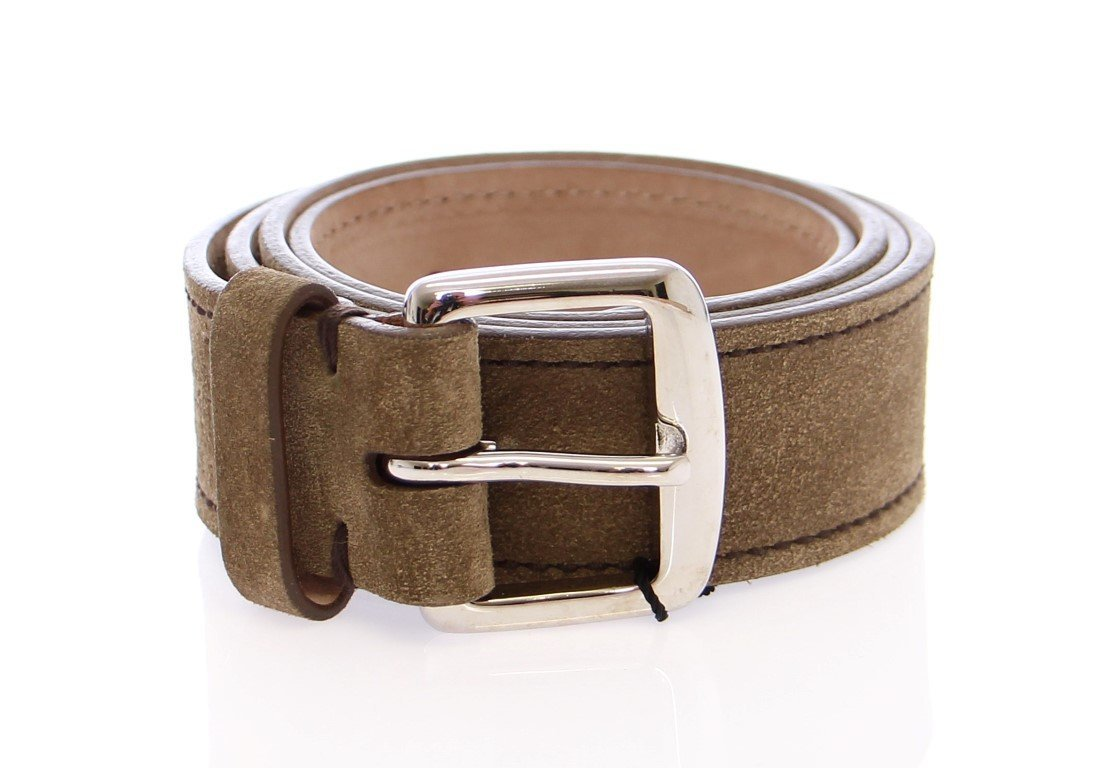 Beige Leather Logo Belt