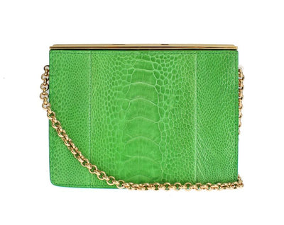 Green leather evening bag