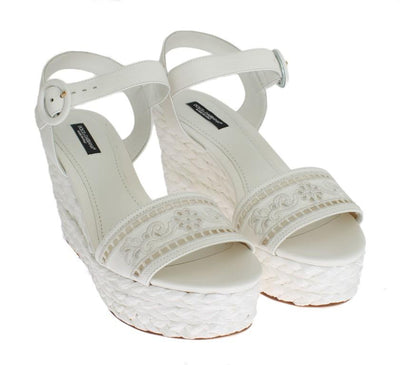 White Leather Cutout Wedges Sandals