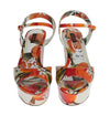 White Leather Oranges Wedges Sandals